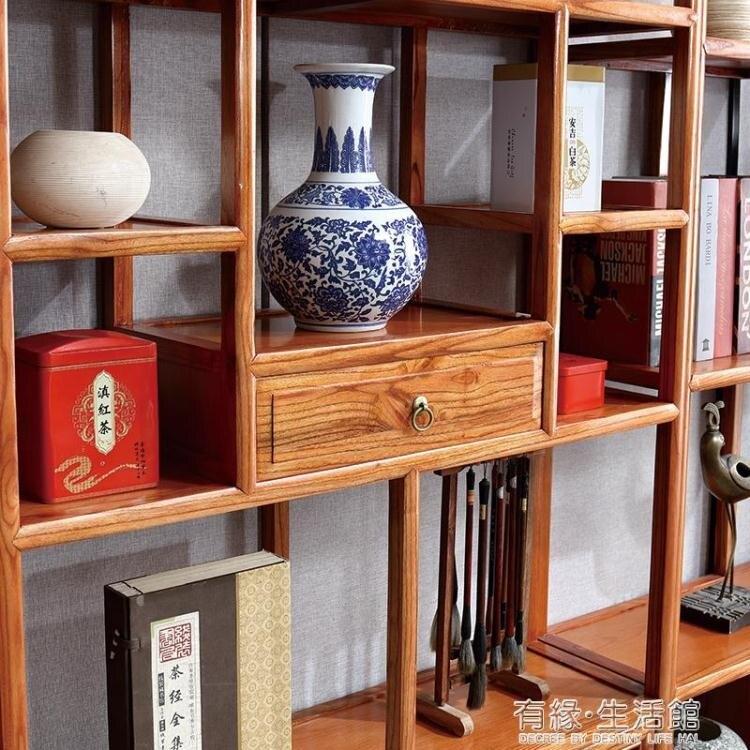 博古架多寶閣實木中式簡約現代隔斷古董古玩架茶櫃架置物架展示櫃AQ 走心小賣場
