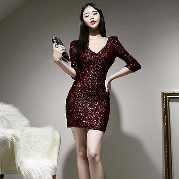 小洋裝 禮服 修身 9576#韓版春裝新款七分袖亮閃閃珠片連身裙女包臀短裙H506紅粉佳人