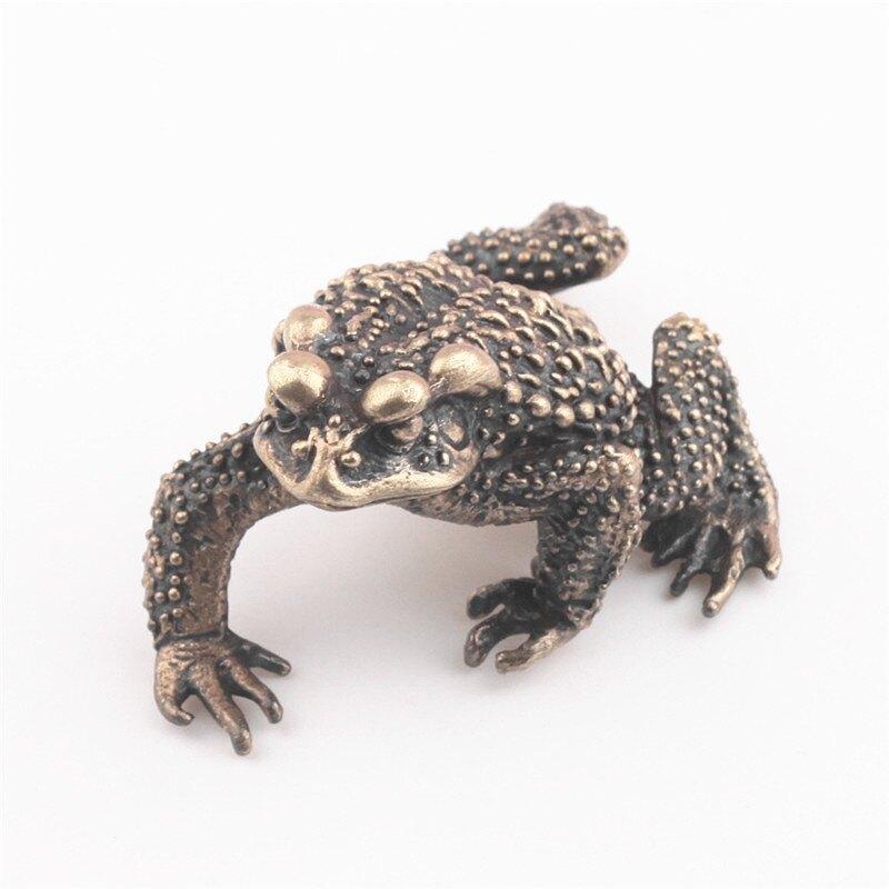 純銅鑰匙扣實心蟾蜍青蛙創意辦公鎮紙茶寵招財汽車小擺件個性飾品1入