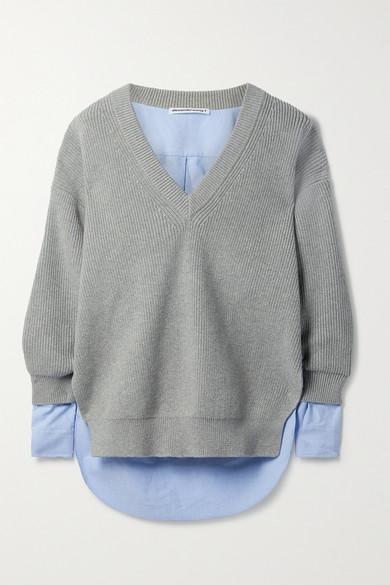 alexanderwang.t - 分层式罗纹棉质混纺面料纯棉牛津纺毛衣 - 灰色 - small