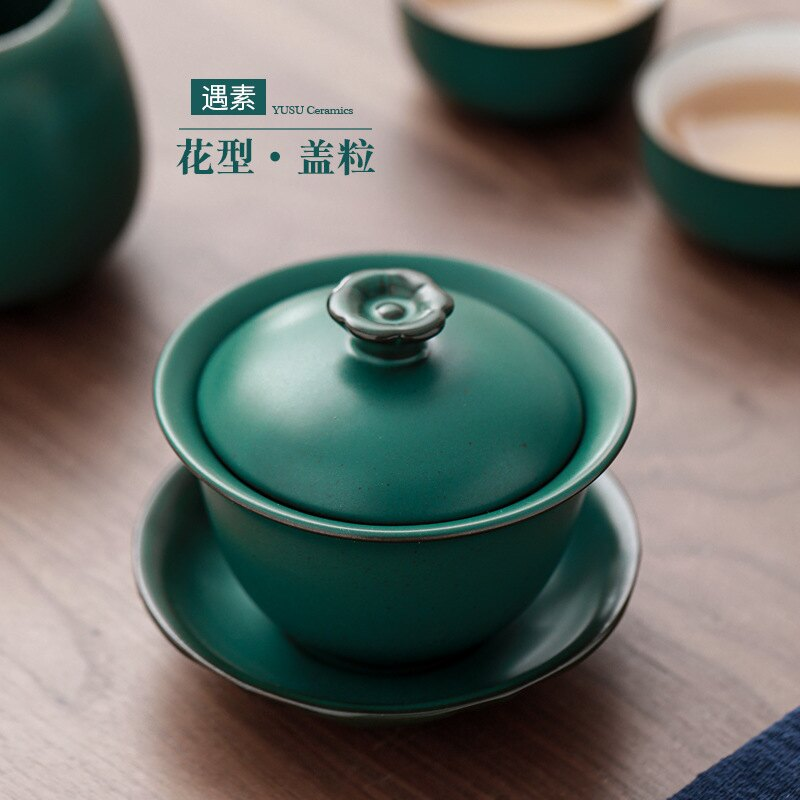 蓋碗茶杯陶瓷三才碗單個復古蓮花泡茶碗創意中式功夫茶具蓋杯 【妙吉生活館】