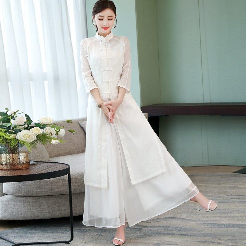 夏裝新款中式復古改良旗袍唐裝茶服棉麻連衣裙民族風兩件套裝1入