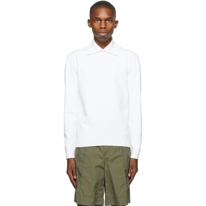 Valentino 白色刺绣徽标长袖 Polo 衫