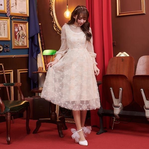 露比午茶-閃亮刺繡網紗透膚長袖洋裝