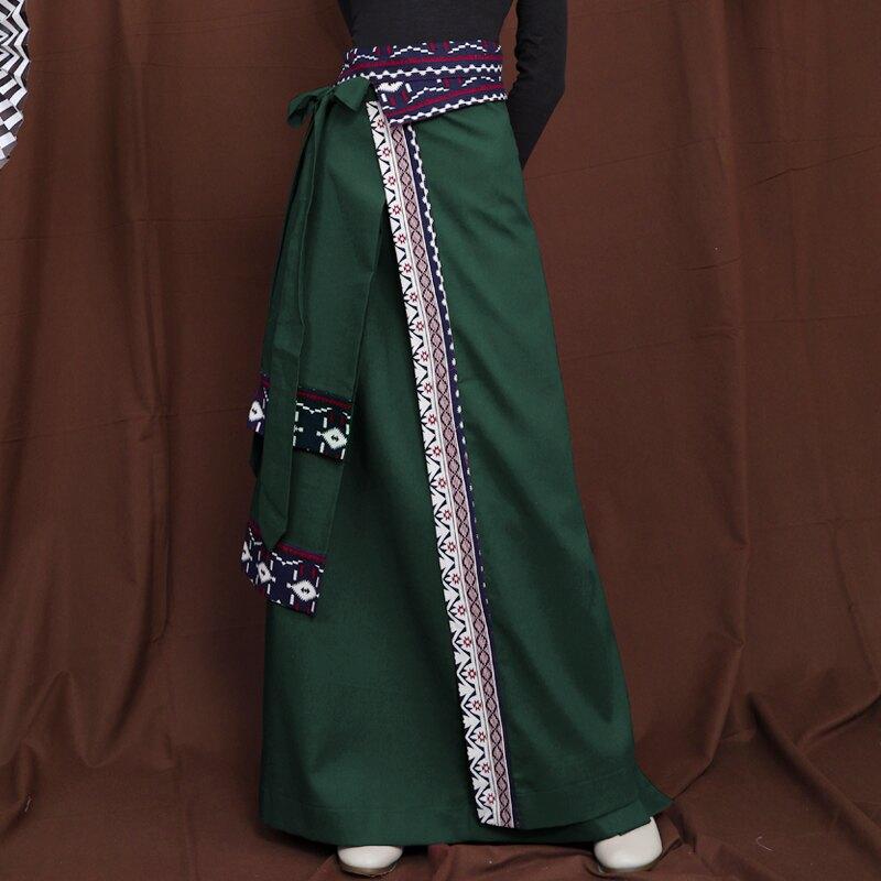 春裝新款原創設計少數民族風女裝棉麻半身裙中國風長裙子藏裙1入