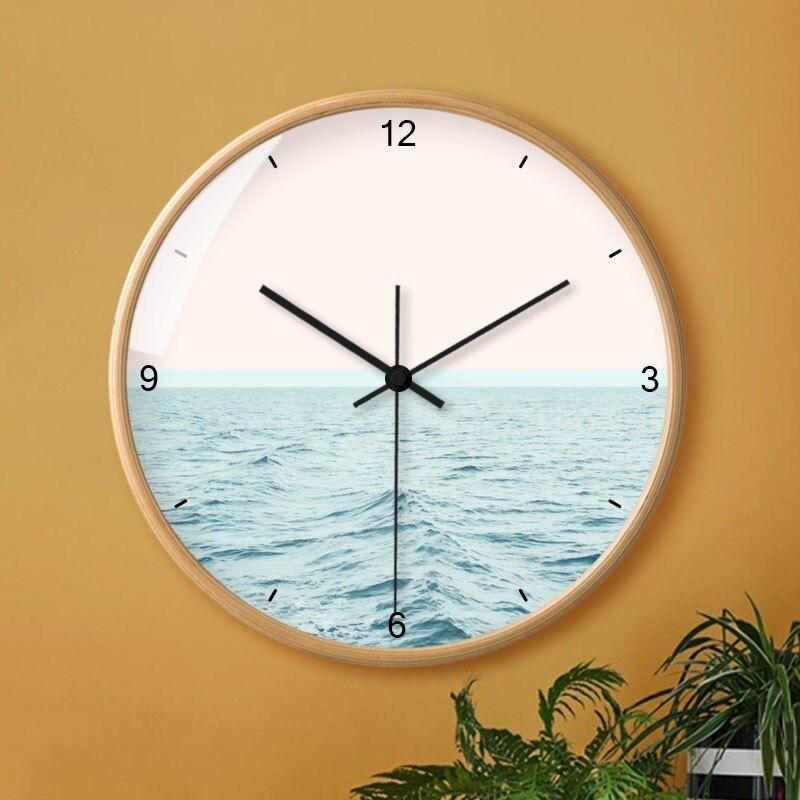 新店五折 現代簡約掛鐘客廳家用時尚創意鐘表個性大氣北歐實木時鐘靜音掛表
