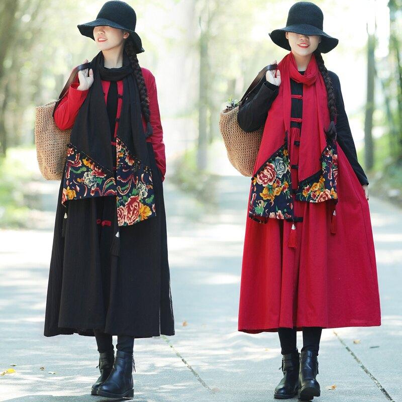 秋冬新款原創復古民族風女裝配飾棉麻圍巾長款保暖百搭披肩1入