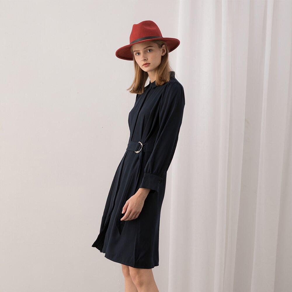 【MASTINA】圓環腰帶素面-洋裝(二色/魅力商品/版型適中)