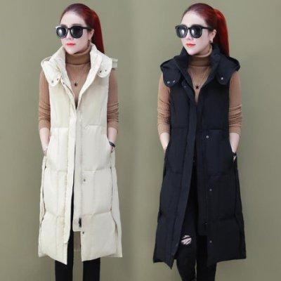 長款過膝羽絨棉馬甲加厚保暖黑色顯瘦大版背心抗寒秋冬馬夾女外套