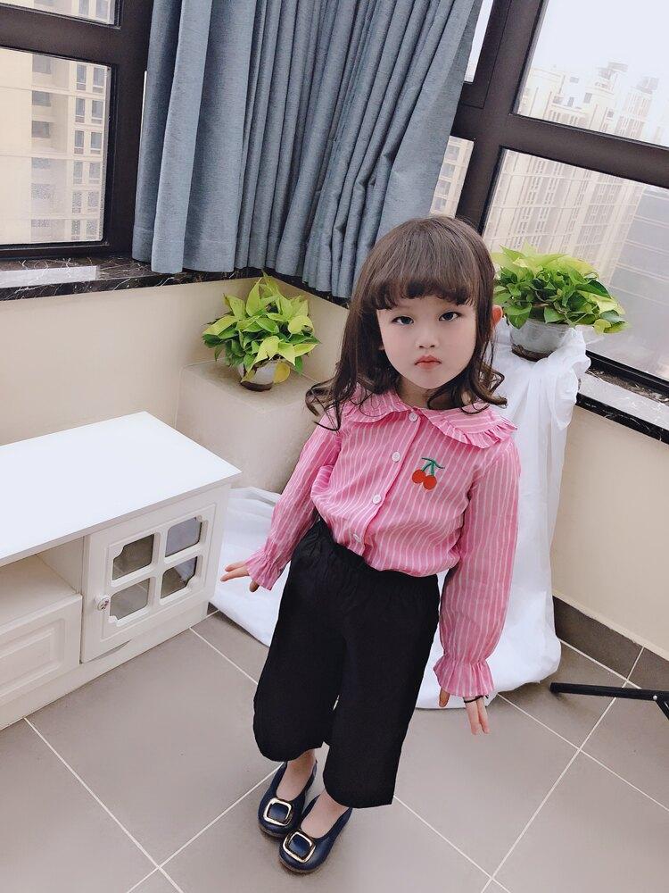 童裝2019春秋款小清新上衣 女童寶寶襯衣櫻桃刺繡兒童條紋襯衫1入