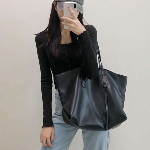 潮女大包包 軟皮單肩大包包女2021新款潮網紅時尚百搭托特包大容量手提包【快速出貨八折鉅惠】