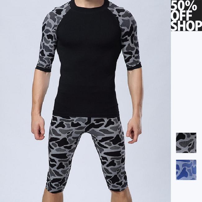 50%OFF SHOP【AD021866P】狂野豹紋男士緊身塑身塑型輕壓舒適透氣速乾運動七分褲