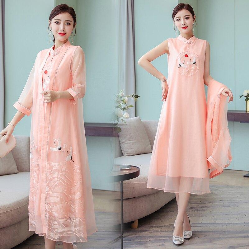 夏裝新款民族風刺繡改良旗袍中國風連衣裙+外披茶服套裝顯瘦1入