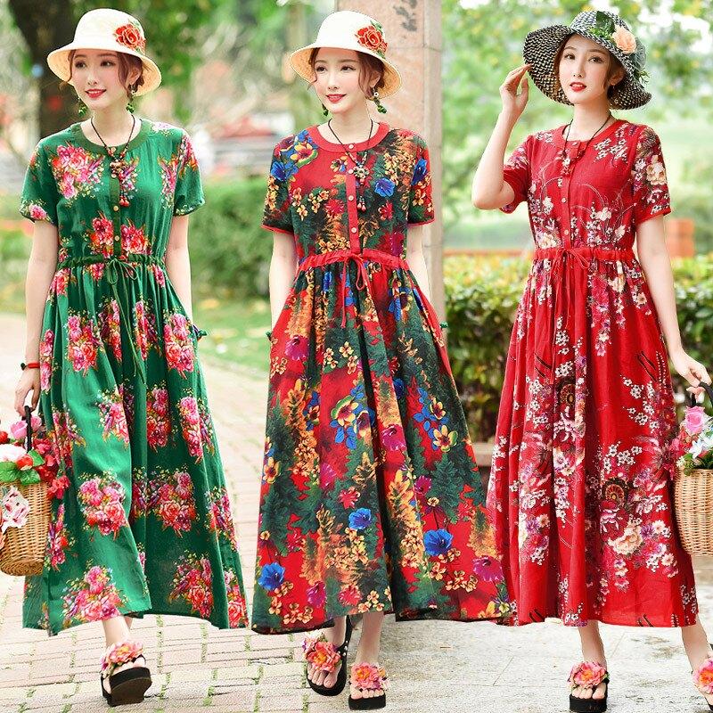 夏季新款民族風女裝大碼復古印花麻棉短袖修身顯瘦長裙連衣裙1入