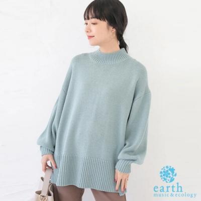 earth music 後鏤空開岔設計高領蓬袖套頭針織衫