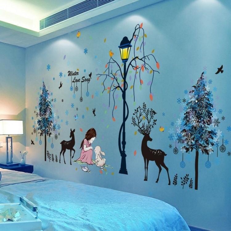 限時八折 臥室溫馨女孩貼紙自粘墻紙網紅兒童房間床頭背景墻壁紙裝飾墻貼畫