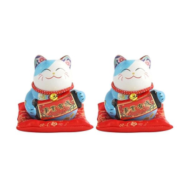 (組)五寶吉祥4.5吋招財貓-藍