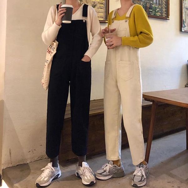2020秋季新款韓版牛仔褲女直筒寬鬆高腰顯瘦連體吊帶褲黑色長褲子 【元旦狂歡購】