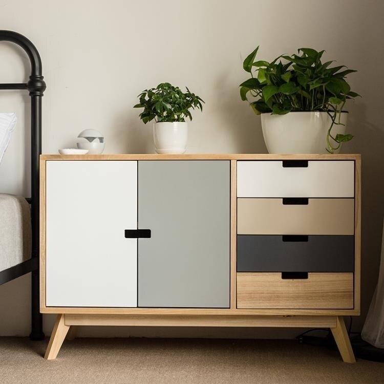 儲物櫃 實木鬥櫃簡約現代五斗櫃臥室五鬥櫥矮櫃儲物櫃北歐多抽屜式收納櫃 DF 艾維朵