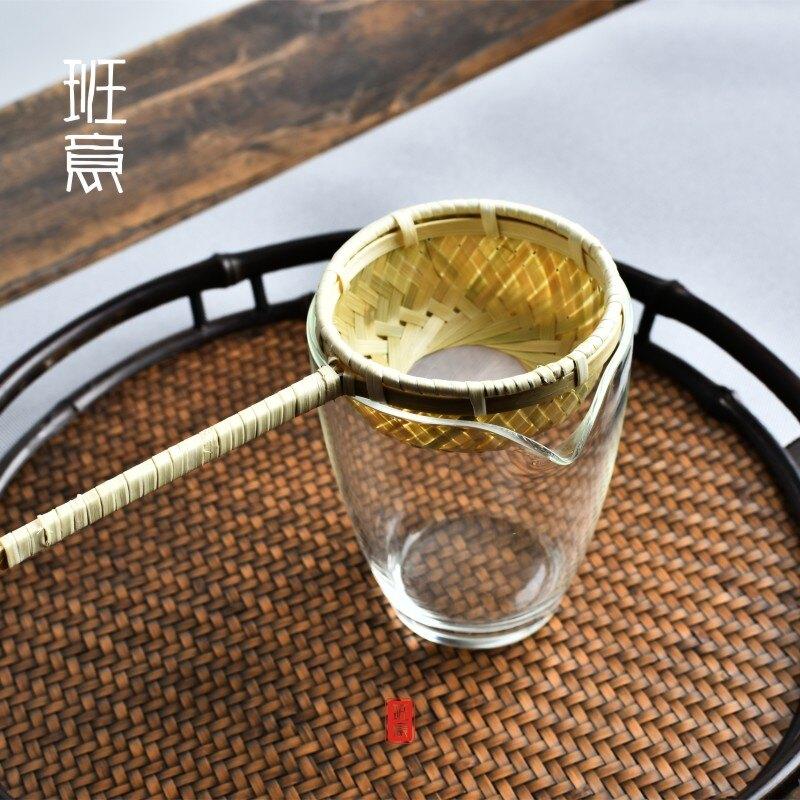 竹編茶漏 日式竹制茶濾茶濾網茶隔過濾器 功夫茶具零配件1入
