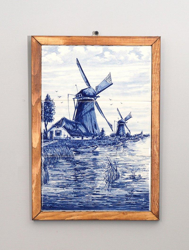 手繪荷蘭風車運河瓷磚掛飾(FTC-5)/復古/老件/vintage