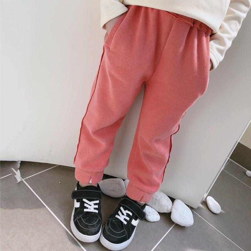2019秋季新款 中小童運動風長褲 兒童松緊褲腰拼接假兩件休閑褲1入