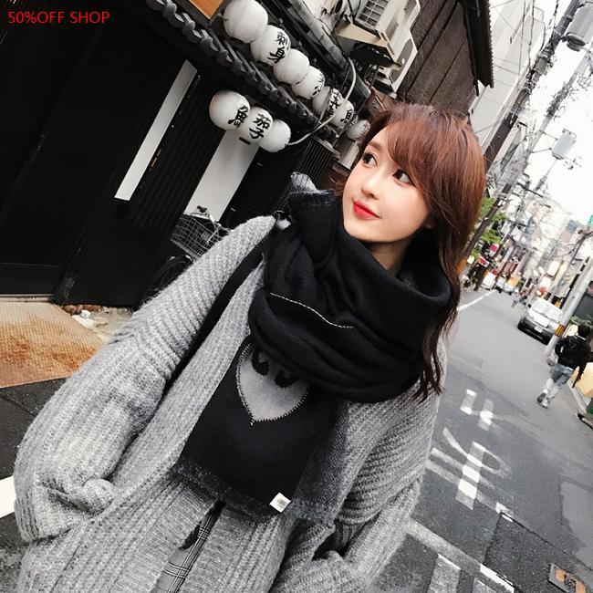50%OFF SHOP針織圍巾加厚純色雙面日系小清新韓版針織情侶保暖圍脖 (2色)【DM032998SC】