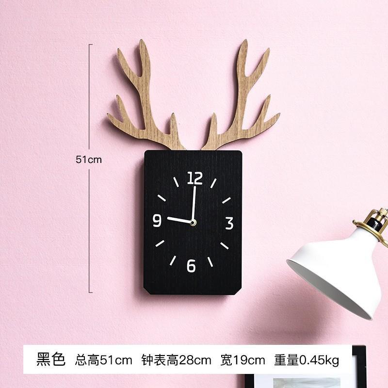 新店五折 鹿角鍾表 客廳 壁掛 牆麵臥室 靜音時鍾 木質方形掛表