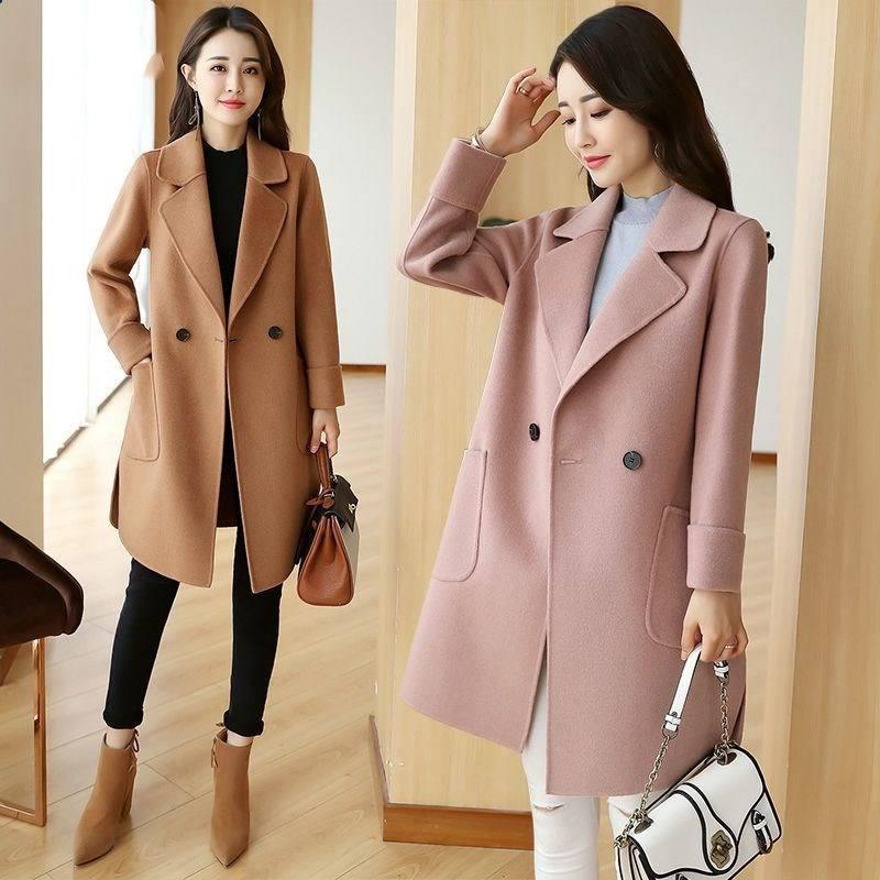 M-3XL 韓版中長款時尚毛呢大衣