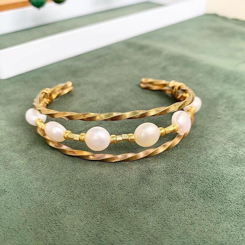 銅手作手環_天然珍珠雙排開口活動式黃銅手環_限量發售