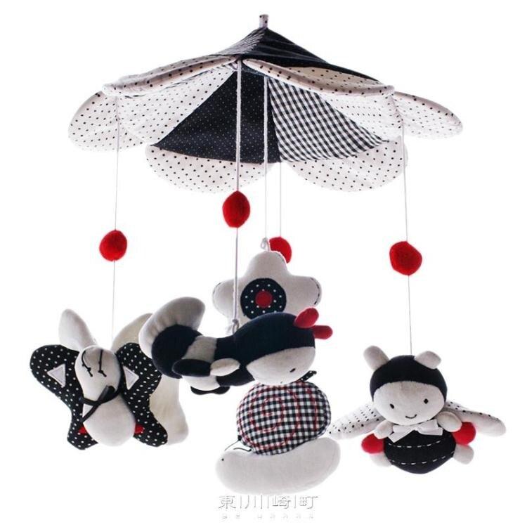 台灣現貨 SHILOH追夢環游嬰兒黑白床鈴0-6個月新生兒音樂旋轉毛絨成品玩具 新年鉅惠