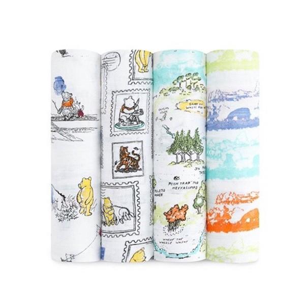 Aden+anais迪士尼經典包巾組(4入) 小鹿斑比/小熊維尼(120 x 120cm)