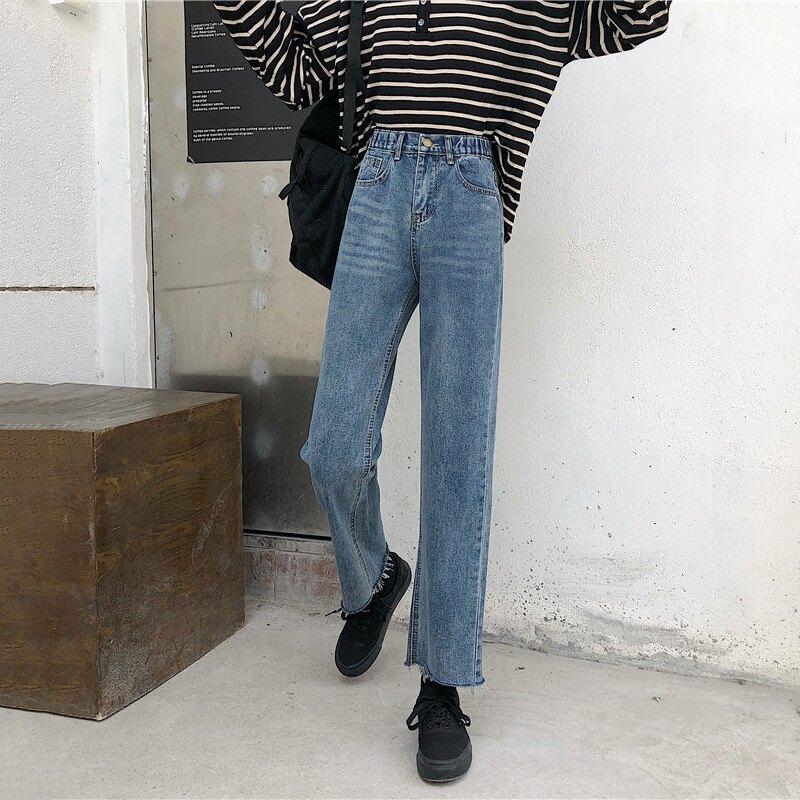 褲子女2019新款高腰直筒褲秋季款百搭學生顯瘦顯高松緊腰牛仔褲潮1入