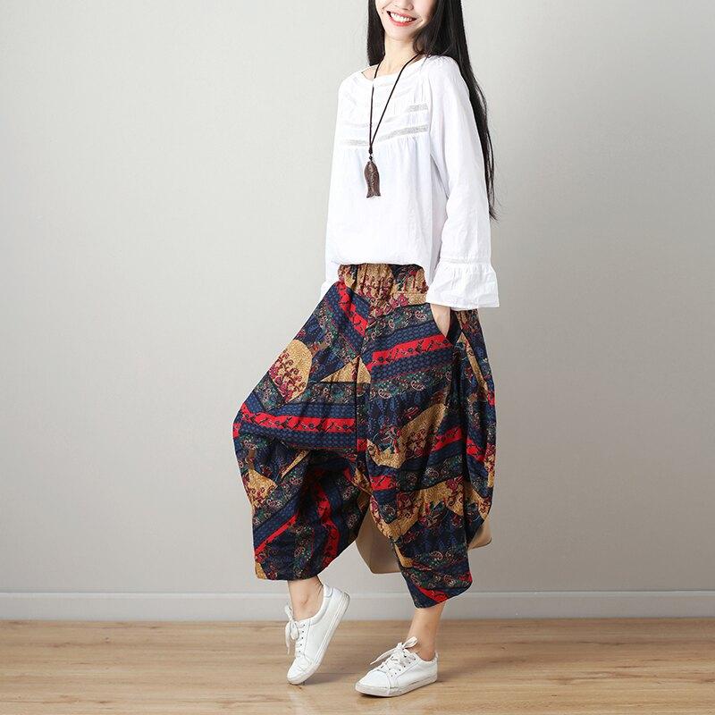 2019年秋裝大碼新款尼泊爾民族風女裝復古闊腿哈倫褲棉麻九分褲子1入