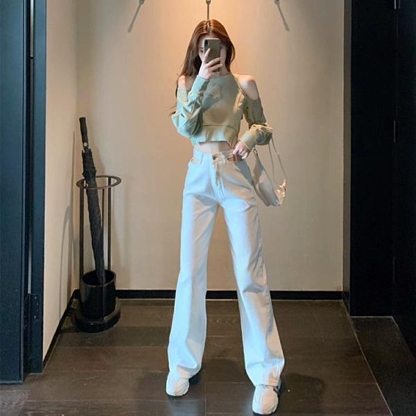 2021新品促銷 秋季新款鏤空高腰直筒寬松拖地牛仔褲 短款設計感露肩長袖衛衣女