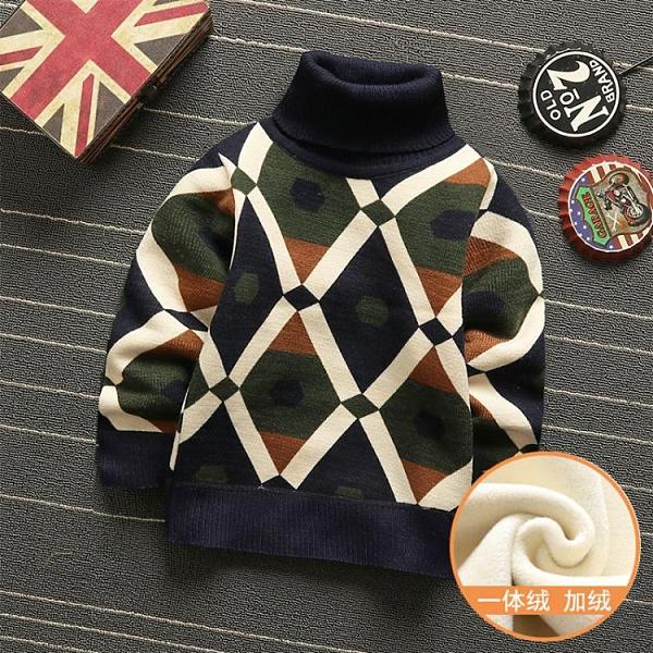 兒童毛衣 男童毛衣加絨加厚童裝秋冬款高領兒童上衣寶寶針織衫中大童打底衫 交換禮物