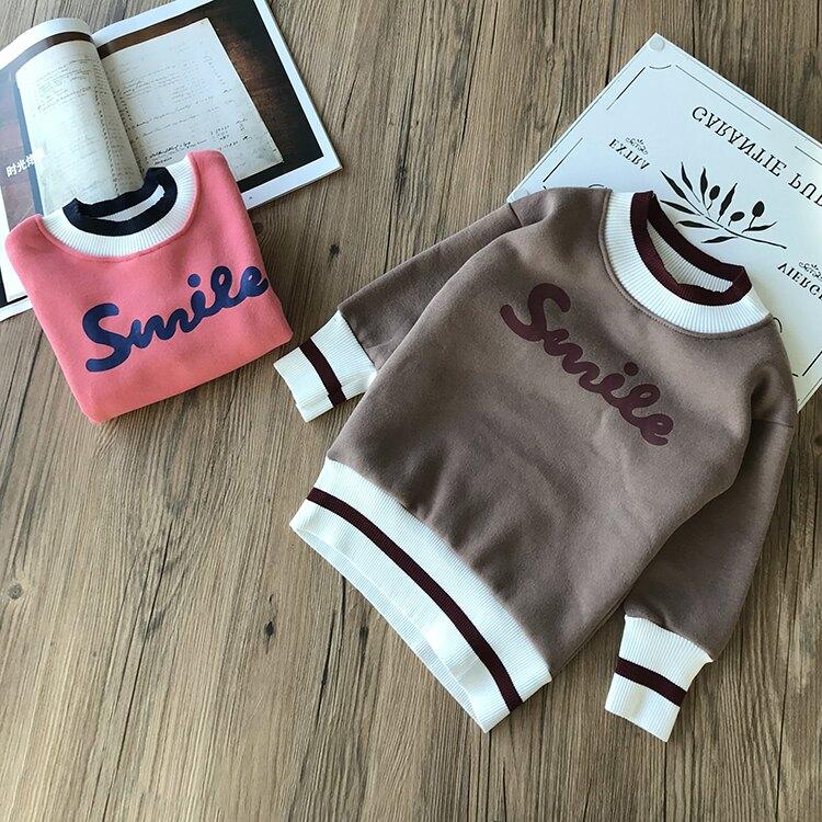 雙層加絨加厚2019冬裝季新款女童寶寶字母連衣裙中小童兒童衛衣裙1入