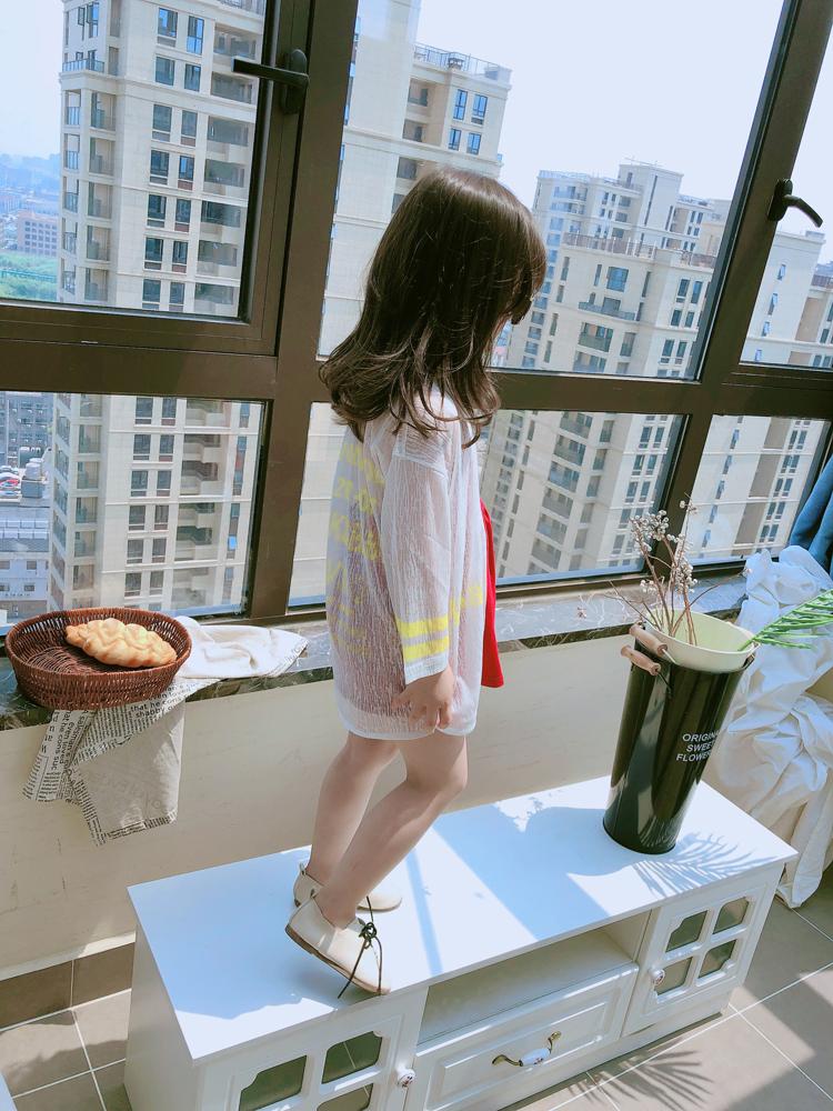 兒童2019夏季新款甜美可愛長袖外套 女童寶寶時尚潮流開衫防曬服1入