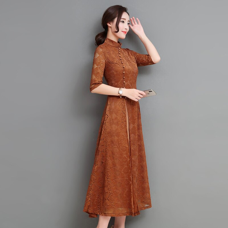 春夏新款中國風優雅氣質復古改良旗袍禮服蕾絲連衣裙修身長裙1入