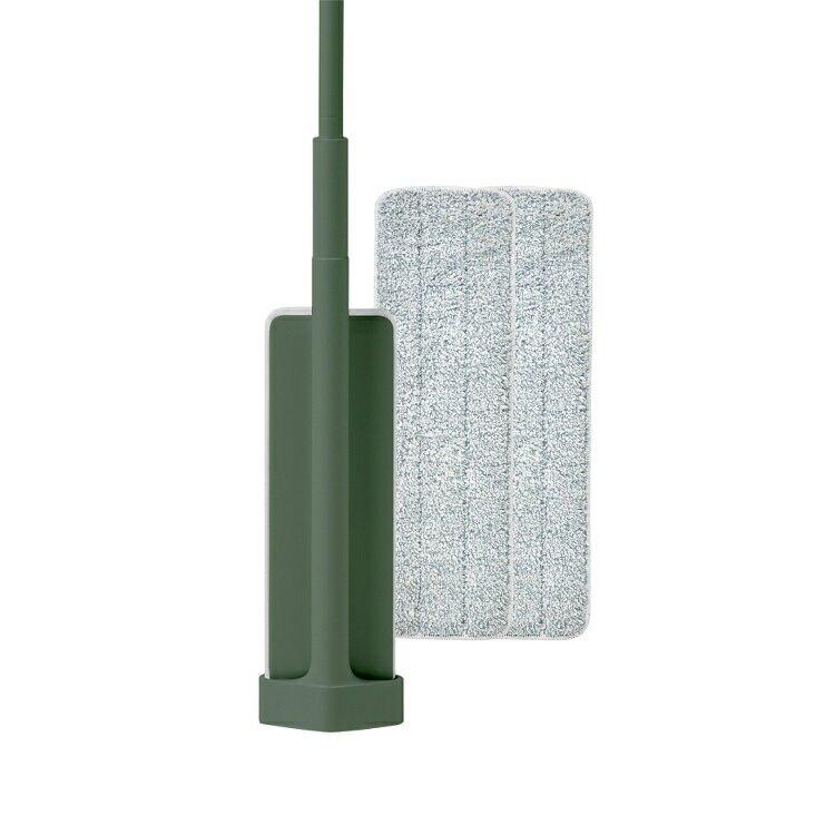 百潔 PERCENT-QUICK MOP_免手洗高效平板拖把(綠色)+高纖效能替換拖布x2【比漾廣場】