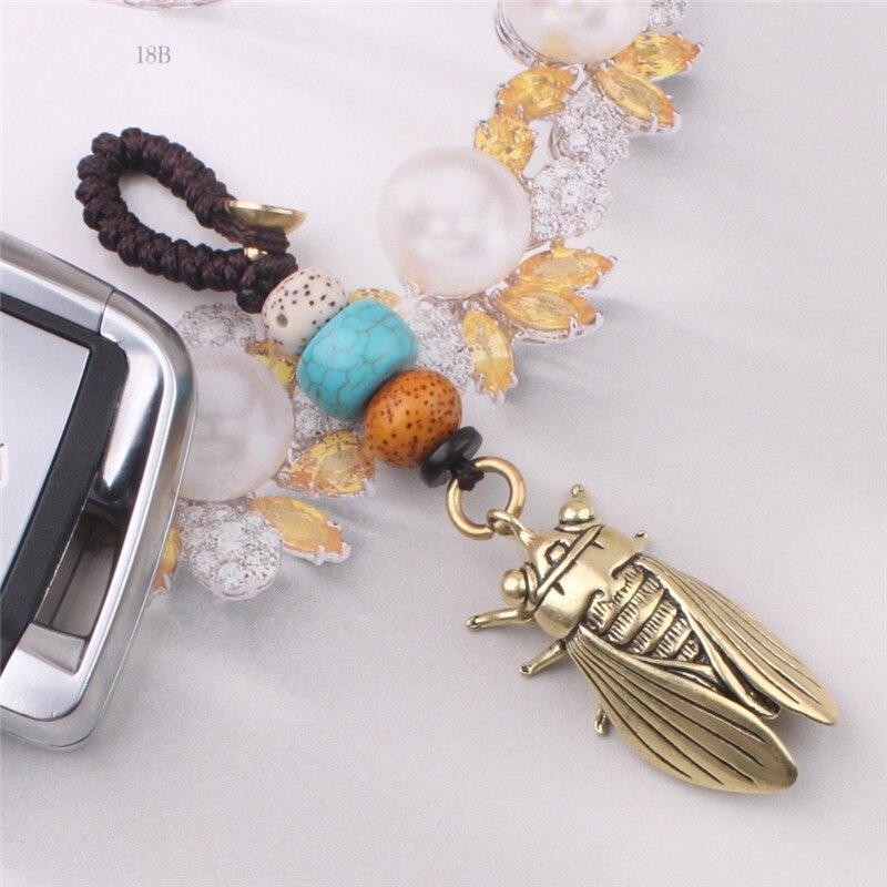 中國風純手工創意編織繩黃銅汽車鑰匙扣掛件吉祥飾品吊墜個性禮品1入
