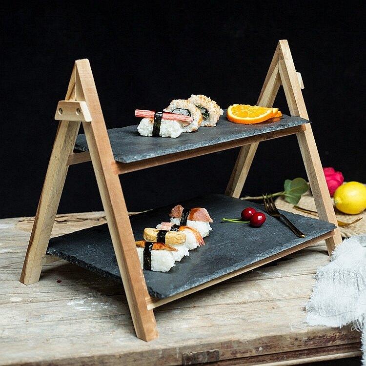 甜品架 日式 折疊式木質蛋糕架黑色石板壽司盤子餐廳雙層原木水果甜品架【全館免運 七五折鉅惠】