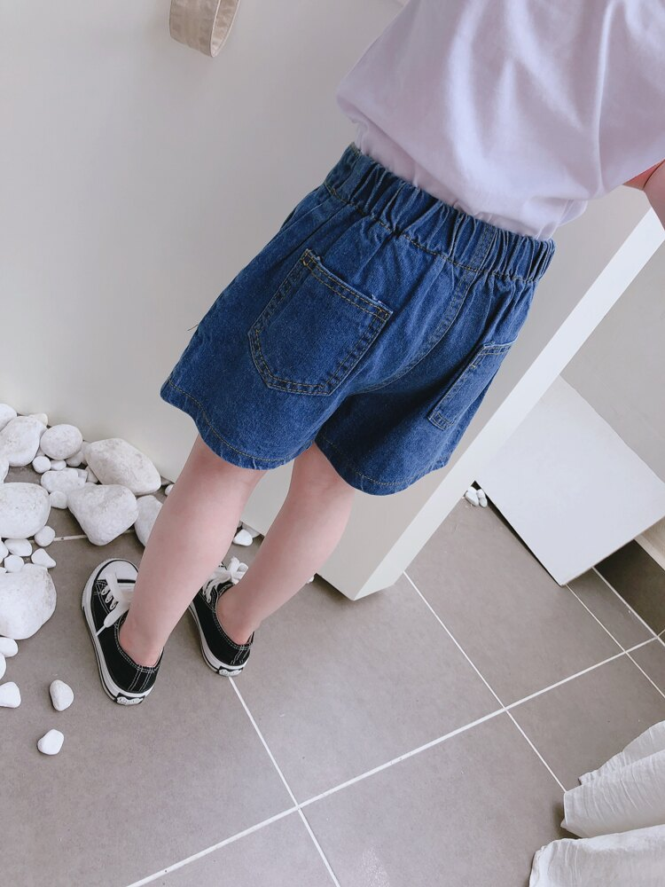 2019夏季新款 兒童松緊腰牛仔短褲 男女童寶寶洋氣個性闊腿小熱褲1入
