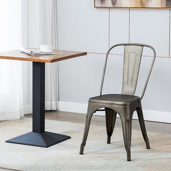 [客尊屋-椅天]Sidney希德尼工業風金屬高背餐椅 -六色可選-槍色