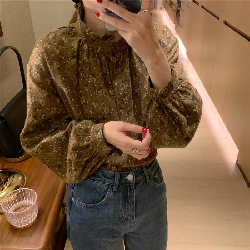 韓版小碎花磨毛立領寬鬆百搭長袖襯衫 2色