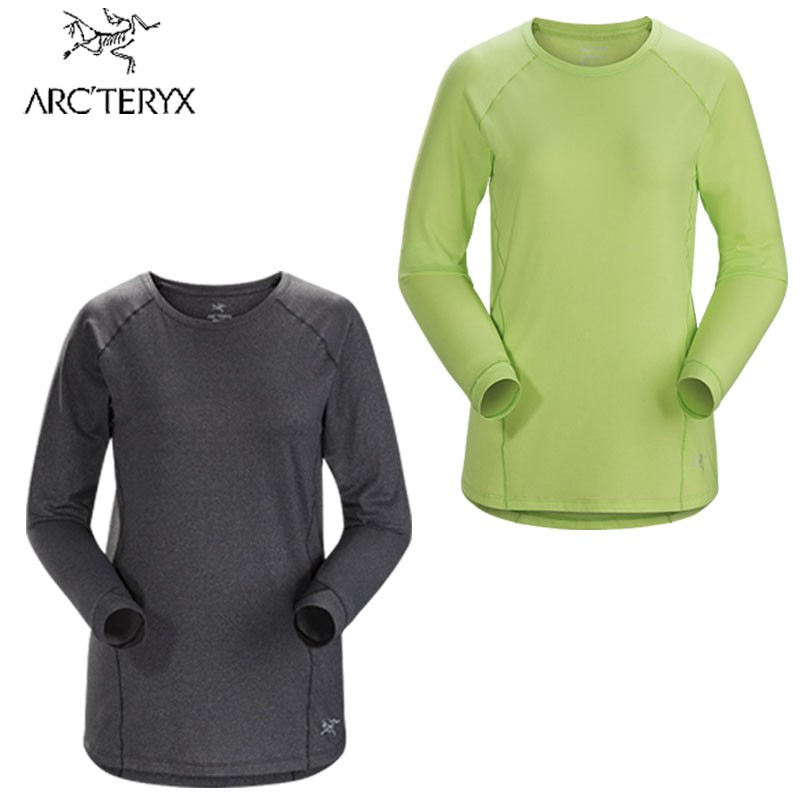 【Arcteryx 始祖鳥】女性長袖上衣 Tolu快乾長袖圓領衫 黑/淡綠 透氣涼爽上衣 20953