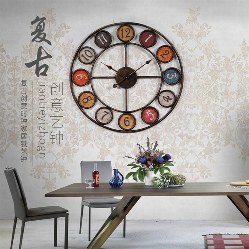 創意鐘表簡約時鐘鐵藝復古掛鐘客廳書房壁鐘