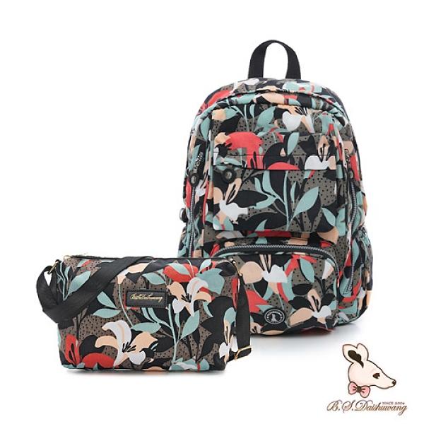 B.S.D.S冰山袋鼠 - 楓糖瑪芝 - 大容量附插袋後背包+側背小包2件組 - 熱帶雨林【Z060-1+001RF】