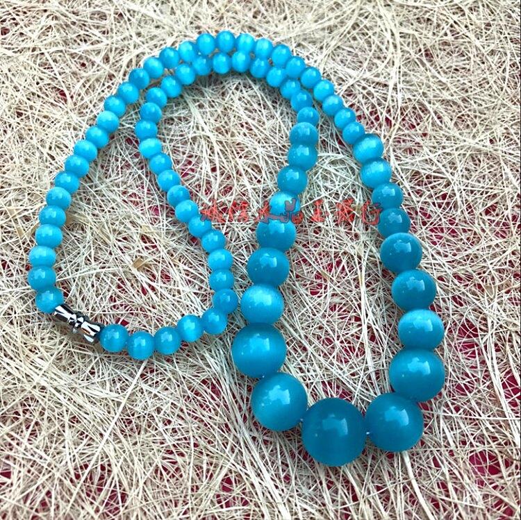 天然貓眼石塔鏈 藍貓眼石塔鏈項鏈1入
