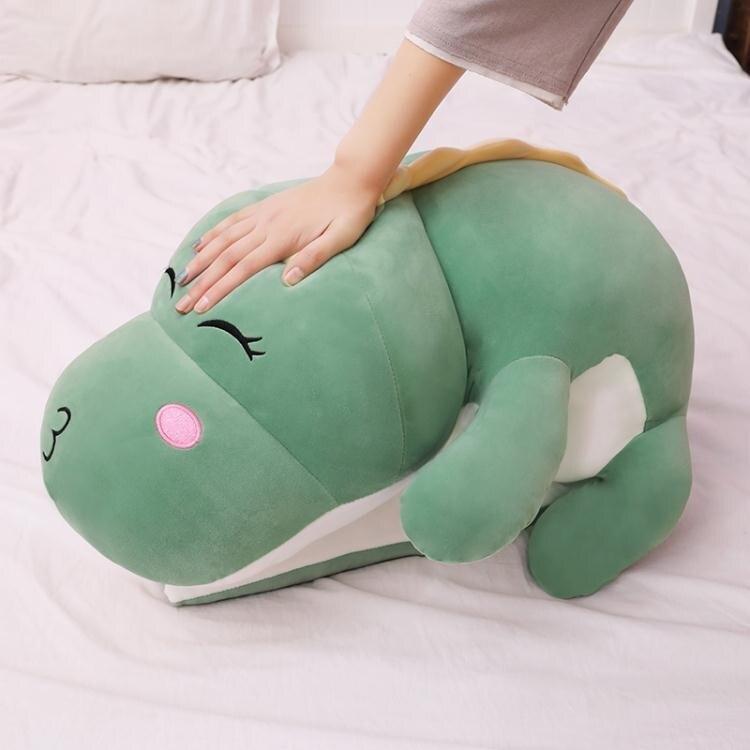 恐龍毛絨玩具公仔可愛床上陪你睡覺夾腿長條抱枕大玩偶布娃娃女生 小明同學